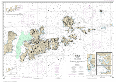 16471 - Atka Pass to Adak Strait; Three Arm Bay, Adak Island; Kanaga Bay, Kanaga Island; Chapel Roads and Chapel Cove, Adak Island