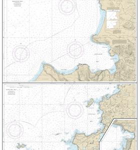 16511 - Inanudak Bay and Nikolski Bay, Umnak lsland; River and Mueller Coves