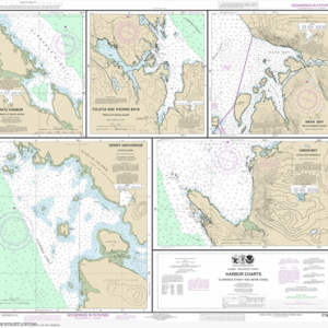 17423 - Harbor Charts-Clarence Strait and Behm Canal Dewey Anchorage, Etolin Island; Ratz Harbor, Prince of Wales Island; Naha Bay, Revillagigedo Island; Tolstoi and Thorne Bays, Prince of Wales lsland; Union Bay, Cleveland Peninsula
